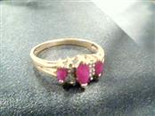10K 3 RUBY STONES Synthetic Ruby Lady's Stone & Diamond Ring RUBY